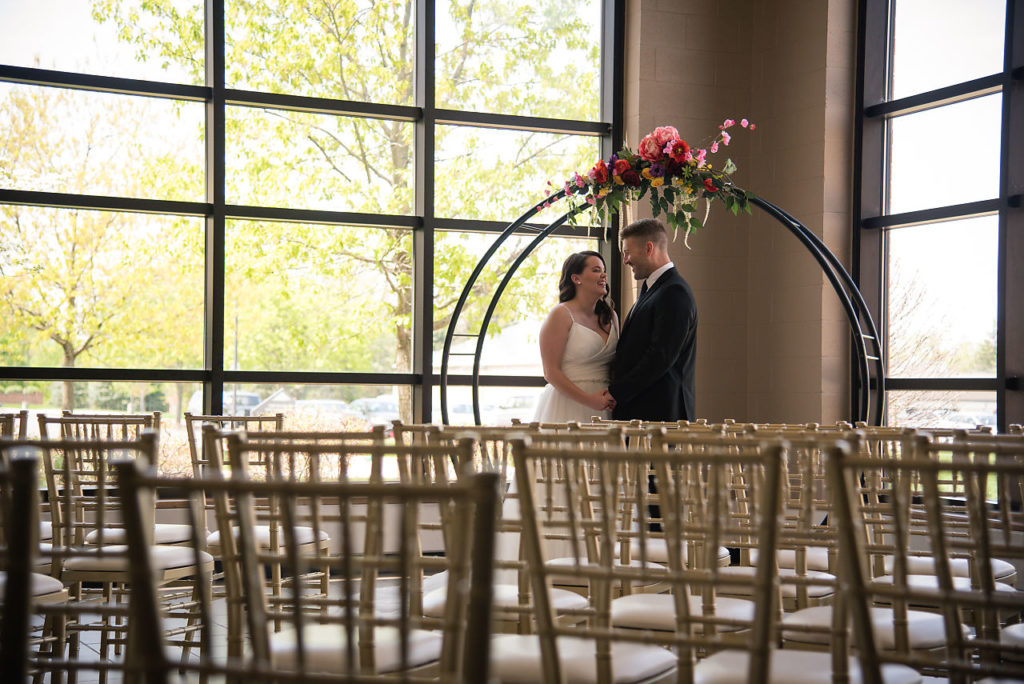 wedding venue in Fort Wayne, The Summit, events at the summit, atrium, indoor wedding locations, fort wayne, Wedding, Atrium, Small Wedding, Bride, Groom, Reception